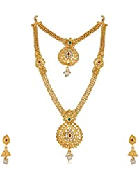 Apara Gold Plated Traditional Long and Short Ball Chain Earring Necklace Set for Women