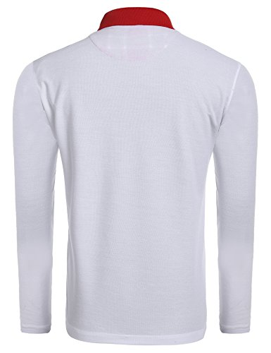 BURLADY Herren Poloshirt Langarm Einfarbig Basik Polohemd Weiß
