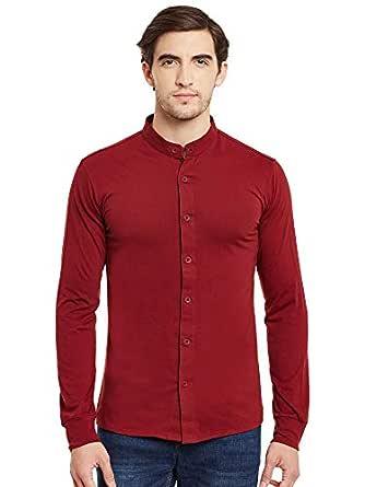 GRITSTONES Men's Full Sleeves Shirt, Medium (Maroon, GSFSSHRT1476)