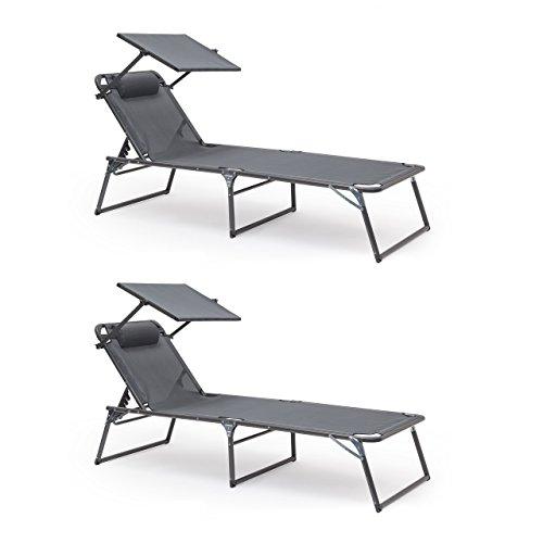 2 x Sonnenliege klappbar im Set, Gartenliege verstellbar, Mit Sonnendach und Nackenrolle, bis 110...