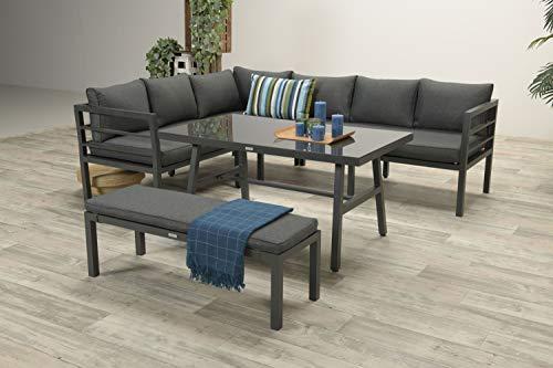 PHG Hohe Dinning Aluminium Lounge Blakes Carbon, inklusive XL Bank und wasserabweisender Kissen -