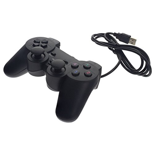 Smartfox USB Gamepad Joypad Controller für Windows PC Laptop und Notebook Plug & Play Dual Vibration - schwarz