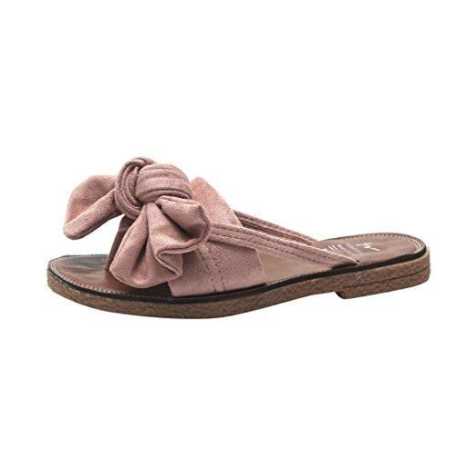Kkangrunmy sandali donna bassi pelle, sandali donna bianchi sandalo alla romana,donne solido colore bow cravatta tacco piatto sandali pantofola scarpe da spiaggia pantofole sposa bianche (36, rosa)