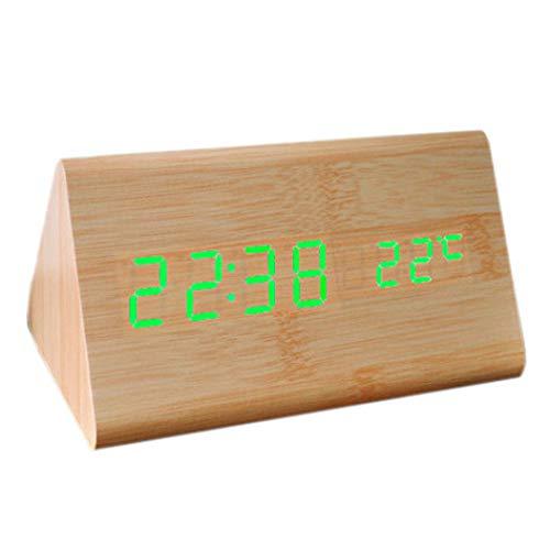 SMAERTHYB Termómetro De Control De Voz De Madera Reloj De Alarma De Madera Led Digital Reloj USB
