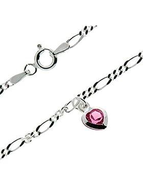 Schmuck-Klein Silbernes Fußkettchen Figaro Länge ca. 25 cm mit Herz Swarovski-Elements rosa 925/- Sterling Silber