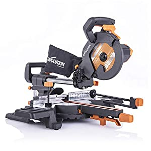Evolution Power Tools R210SMS-300+ Sliding Mitre Saw with Multi-Material Cutting, 45 Degree Bevel, 50 Degree Mitre, 300 mm Slide, 1500 W, 230 V