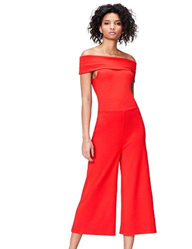 find. Jumpsuit Damen mit Carmen-Schnitt und Culotte-Design, Rot (Racing Red), 36 (Herstellergröße: Small)