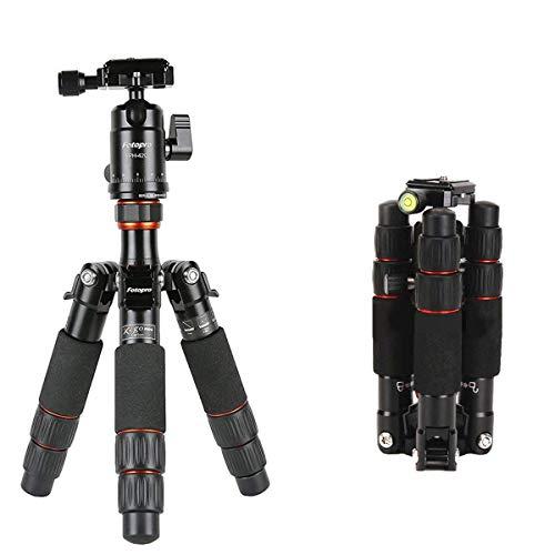 Fotopro Stativ, X-go Mini Kamerastativ, Carbon Fiber Portable Kompakt Stative 18,3 Zoll mit Kugelkopf Schnellwechselplatte DSLR Stativ für Kamera Nikon/Sony/Pentax/Canon Kompakt Stativ, Schwarz Go Portable Mini