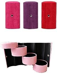 luckybh 3Tier Compartimiento Mini Velvet Viaje Roll Up Joyero organizador de caso Holder con cierre–1pieza