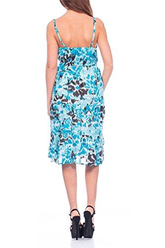 Femmes Pistachio Floral Ou Imprimé Aztèque Midi Femmes Coton Robe Bretelle Bleu - Aztèque