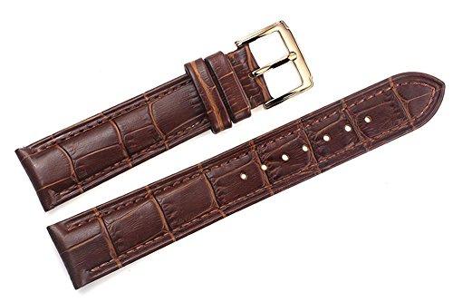 21mm braun italienischen Luxus-Lederersatzuhrenarmbänder / Bands für High-End-gepolsterte Grosgrain Uhren Goldschnalle (Gürtel Leder-kies-schnalle)