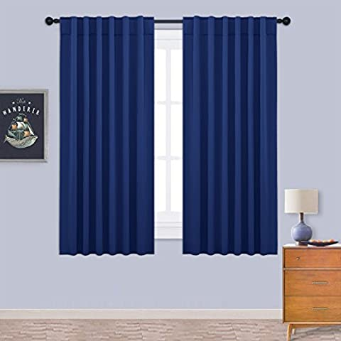Blackout Curtains Room Darkening Panels - PONYDANCE Solid Soft Thermal Insulated Window Treatments Blackout Curtain / Drapes with Rod Pocket & Back Tab, 52