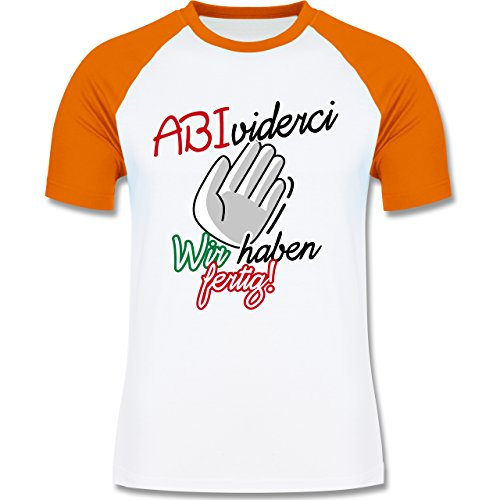 Abi & Abschluss - ABIviderci- Wir haben fertig! - zweifarbiges Baseballshirt für Männer Weiß/Orange