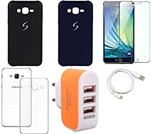 NIROSHA Tempered Glass Screen Guard Cover Case USB Cable Charger for Samsung Galaxy ON5 - Combo