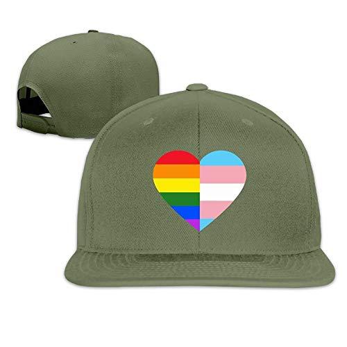 UUOnly Erwachsene Trucker Caps, Fashion LGBT Rainbow und Transgender Pride Flag Heart verstellbare Hip-Hop-Flatbrim-Baseballmütze -