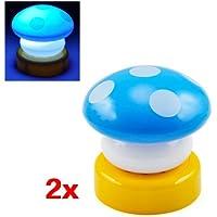 Sonline 2X Blu fungo luce LED di notte per bambini scuola materna luce lampada da tavolo Letto lampada