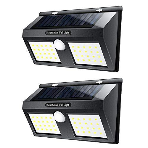 Solarlampen für Aussen, LTPAG 40 LED Solarleuchte mit Bewegungsmelder IP65 Superhelle Energiesparende Bewegungssensor Solarlicht Wandleuchte für Garten, Garage, Balkon, Patio, Hof, Terrasse