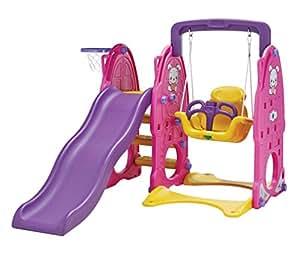 Kids Swing , Slide Basketball Hoop Multi Activity Outdoor Plastic Playground