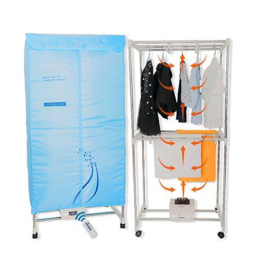 Concise Home Séchoir électrique 1000W Grande capacité 15kg Double Couche télécommande en Acier Inoxydable à économie d'énergie vêtements d'intérieur penderie