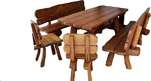 Ess-sets Bänke (Rustikale Gartengarnitur aus Massivholz | Gartenmöbel aus Tannen- und Eichenholz | Sitzplätze: ca. 8 Personen | Tisch, 2 Bänke, 2 Stühle)