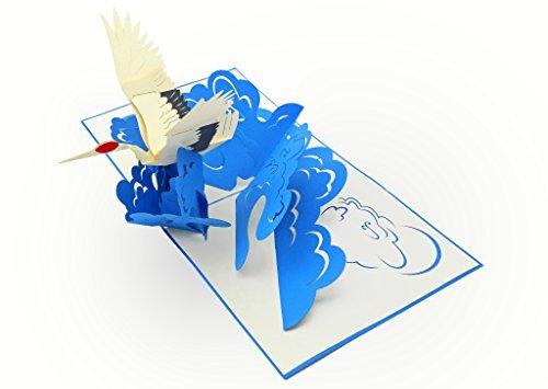 PopLife Cards Crane Vogel 3d Pop-up-Grußkarte - alle Gelegenheiten
