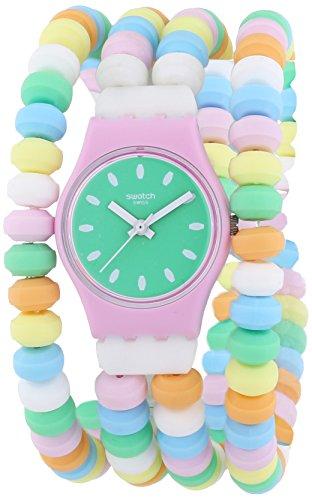 Swatch Caramellisima – Reloj de cuarzo para mujer, correa de plástico multicolor