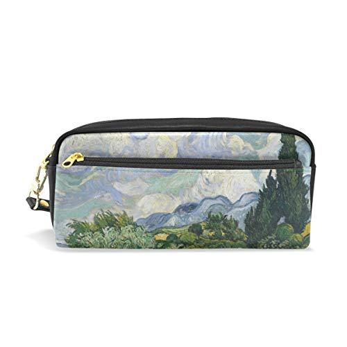 WowPrint Van Gogh Art Motiv Federmäppchen Große Kapazität Reißverschluss PU Leder Federtasche Schreibwaren Federmappe Kosmetik Make-up Tasche Brieftasche für Mädchen Jungen Erwachsene