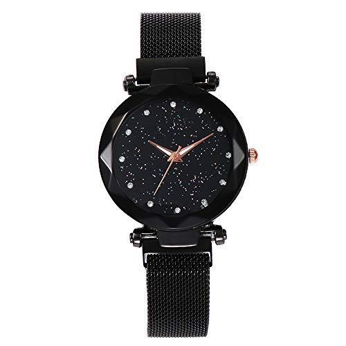 Armbanduhr Damen Ronamick Vansvar Quarz Edelstahl Band Mesh Magnet Schnalle Sternenhimmel Analoge Armbanduhr Uhr Uhren Damenuhren (F)