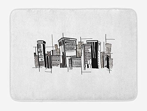 City Bath Mat, Abstract Monochrome City Architecture High Buildings Downtown Financial District, Plush Bathroom Decor Mat with Non Slip Backing, 23.6 W X 15.7 W Inches, Black White