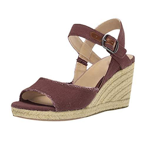 Römische Schuhe Frauen Plus Size,Sandalen Keilsandalen Mode Verstellbarer Knöchel Riemchensandalen-Gemütlich-Wedges-Open Toe Elegant URIBAKY