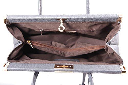 CTM Borsa Bauletto da Donna Elegante con Manici e Tracolla, 35x28x16cm, Vera pelle Made in Italy Grigio