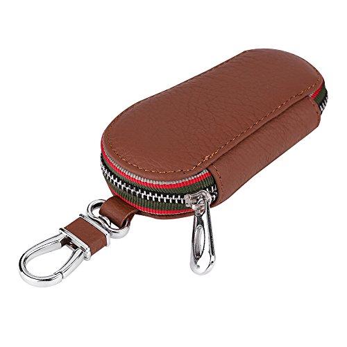 Qiilu Universal Auto Auto PU Leder Reißverschluss Schlüssel Fall Halter Aufbewahrungstasche Abdeckung(Brown)