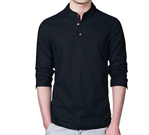 Camiseta de verano, RETUROM Lino formal de los hombres camisetas delgadas de manga larga (XXXL, Negro)