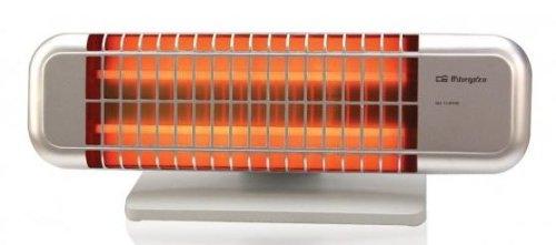 Orbegozo BP 0102 - Estufa de cuarzo de doble barra con 2 niveles de potencia (600 W/ 1200 W), con soporte antivuelco