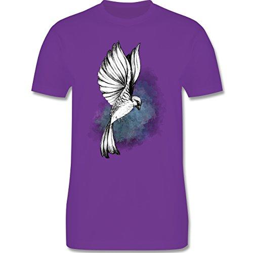 Shirtracer Vögel - Vogel Aquarelle Zeichnung - Herren T-Shirt Rundhals Lila