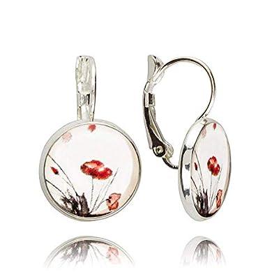 Jolies Boucles d'Oreilles Gouttes de couleur Blanche avec Coquelicot Rouge; Cadeau Humour Anniversaire pour Femme; Dimension 2.8x1.4cm