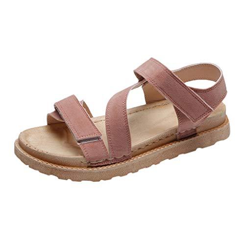Kolylong Damen Flache Große Größe Römische Schuhe Sommer Offener Zeh Sandalen Einfarbig Dicker Boden Sandalen Bohemia Beach Unterseite Sandalen