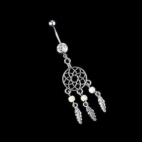 1x Cuerpo Joyas con cristal ombligo anillo de vientre anillo de corazón cuerpo piercing, blanco