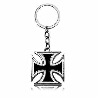 tumundo 1x oder Set aus 4 Stück Schlüssel-Anhänger Eisernes Kreuz EK Iron Cross Anhänger Schlüsselband Schlüssel-Ring, Modell:Modell 3
