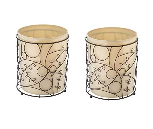 InterDesign Twigz Round Wastebasket Trash Can for Bathroom, Kitchen, Office - Pack of 2, Vanilla/Bronze (76991M2) - Chrome Bath Caddy