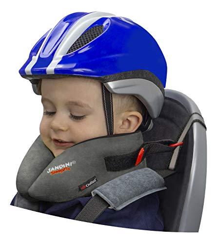 SANDINI SleepFix® Kids Bike - Kinder Schlafkissen/Nackenkissen mit Stützfunktion, Temperaturausgleich - Kindersitz-Zubehör für Fahrrad und Fahrradanhänger - Verhindert Abkippen des Kopfes im Schlaf