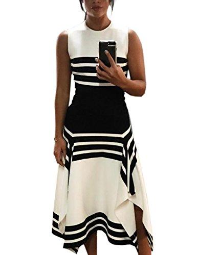 MISOMEE Damen Streifen Farbblock Ärmellos Side Split Maxi Kleid XL Weiß - Side Maxi Split