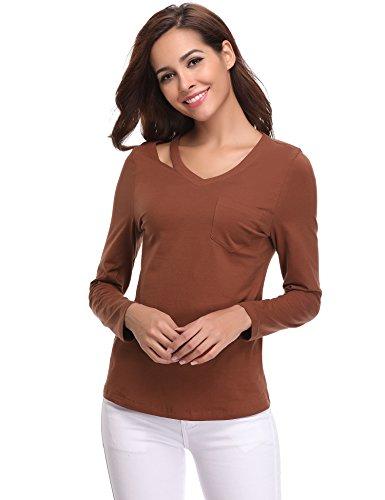 Abollria Donna Maglia Primavera con Manica Lunga Donna Maglietta Casual con Cut Out sullo Scollo T-Shirt V-Scollo Marrone