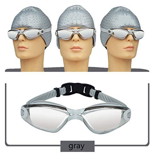 Occhiali Da Nuoto Per Adulti Unisex, Può Cambiare I Vetri Placcatura Naso Fascio, Occhiali Da Nuoto Impermeabile Placcatura HD Anti-fog (grigio)