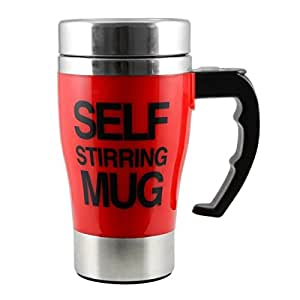 Golden King Self Stirring Coffee Mug – Electric Stainless Steel Automatic Self Mixing Cup-(350ml,Red)