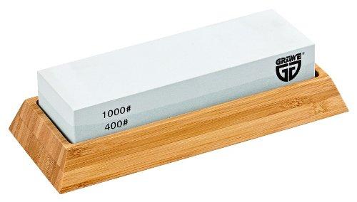 GRÄWE Wetzstein TWINSTAR Körnung 1000 / 400 mit Halter aus Bambus