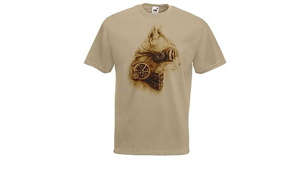 Mens Khaki Steampunk Cat T-Shirt Edwardian Steam Punk Feline Tshirt