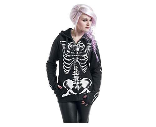 QIONGQIONG Halloween Damen Europäischen Und Amerikanischen Stil Skeleton Cardigan Shirt Langärmelige Pullover Reißverschluss Mit Kapuze Party Dance Kostüme,2XL