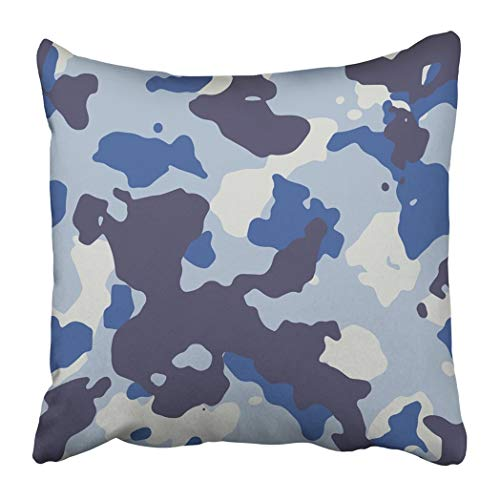wenyige8216 Navy Camoflauge Blue Urban Large Camo Pattern White WaterThrow Pillow Case Cushion Covers 18x18