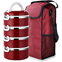 Preisvergleich für Lunch Box, 4 Schichten Lebensmittelqualität Edelstahl Portable Isolierung Thermische Bento Box Mit Griff Und Isolierung Mahlzeit Tasche 2,8 L